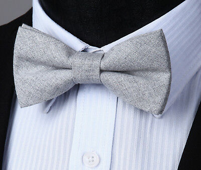 Adjustable Solid Cotton Formal Pre-tied Bow Tie Men Butterfly Wedding Party#BRML