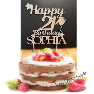 Image Is Loading Birthday Cake Topper Personalised Name 18 21 30