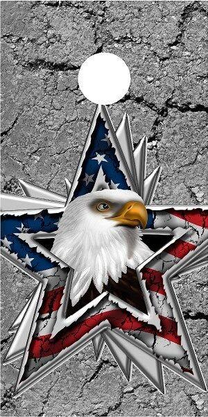 American Flag Eagle Star cornhole board game decal wraps