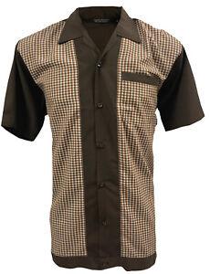 Rockabilly-Fashions-Men-039-s-Shirt-Retro-Vintage-Bowling-1950-1960-Brown-White