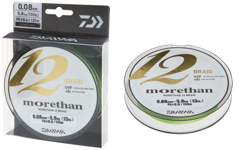 Daiwa Morethan 12 Braid Geflochtene 0,08mm 5,8kg 135m Lime Grün Geflochtene Braid Schnur 7809de