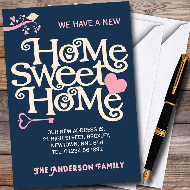 Azul Marino Home Sweet Home Nuevo Hogar Hogar Hogar Tarjetas de cambio de dirección muda de casa e65fd4