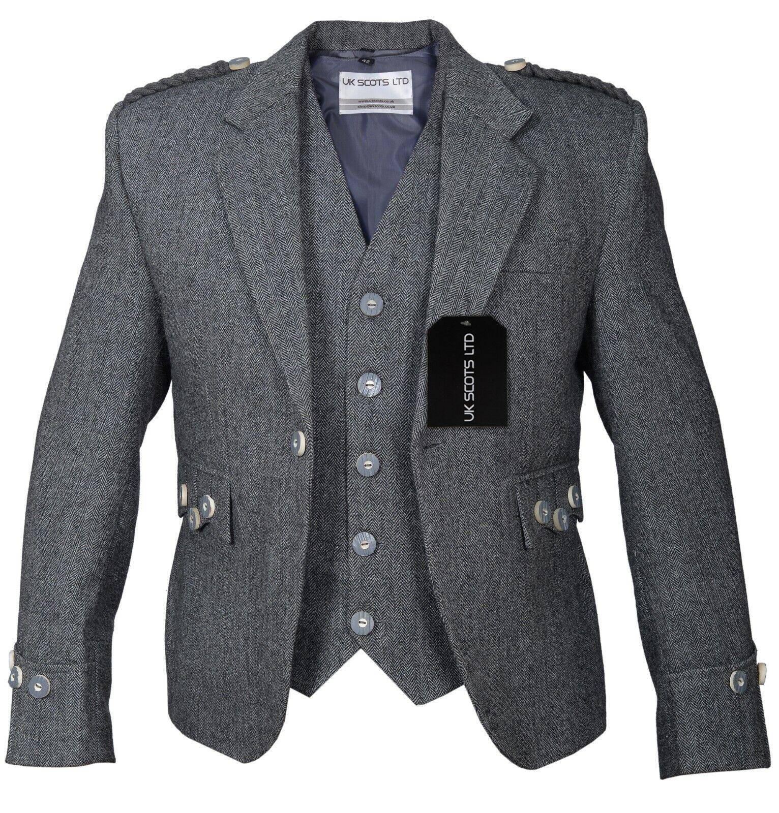 Grey Tweed Argyll Jacket & Vest Pure Wool Matching Bone Buttons