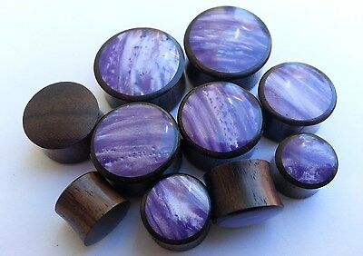 Pair Handmade Shiny Cloudy Purple Resin Sono Wood Saddle Ear Plugs Tunnel Gauges