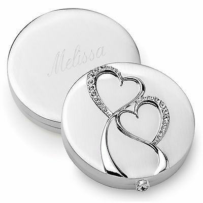 Sparkling Love Double Heart Compact Mirror + Option to Personalize