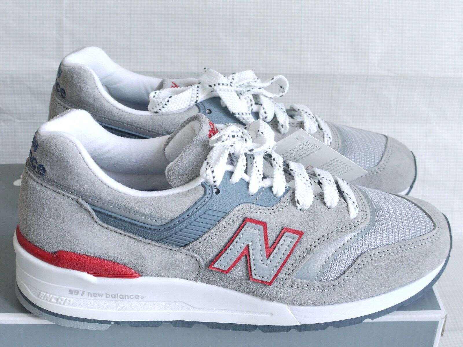 New Balance M997CGR made in USA en daim gris en cuir Rouge Baskets Taille 6 NEUF