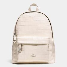 NWT $495 COACH Embossed Croc Leather Campus Backpack Chalk OffWhite Silver 37712