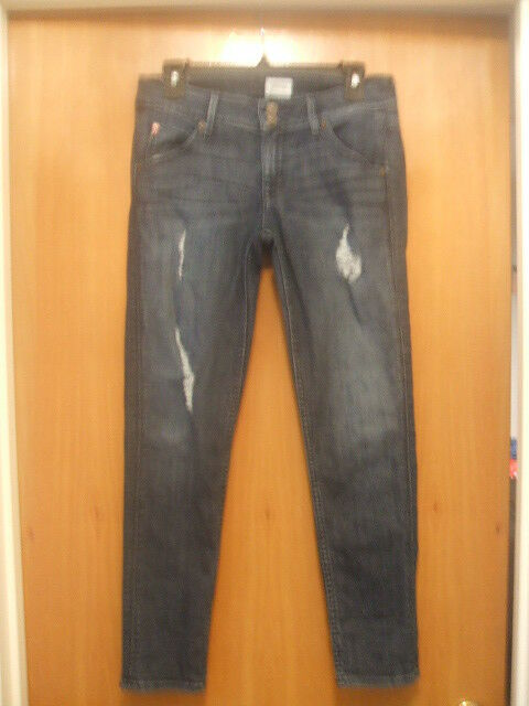 Hudson bluee Jeans Collin Flap Skinny Ankle Sz 27 Destroyed Distressed Ripped