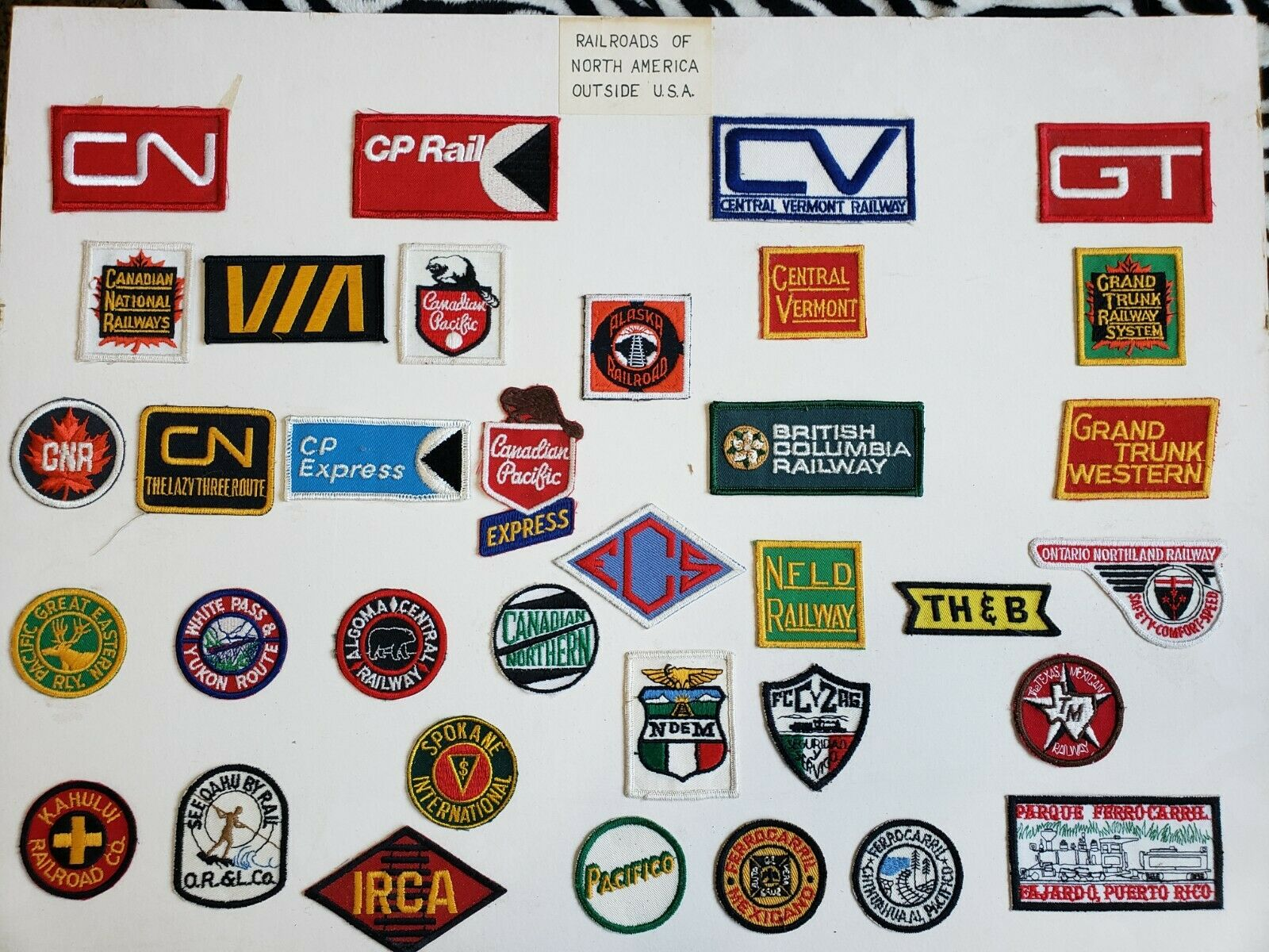 Railroads of North America Outside USA Patches (35 patches)