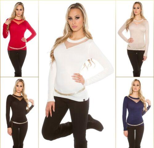 KOUCLA Pullover Maglione Lavorazione a Maglia Pullover Sweater con inserto mesh