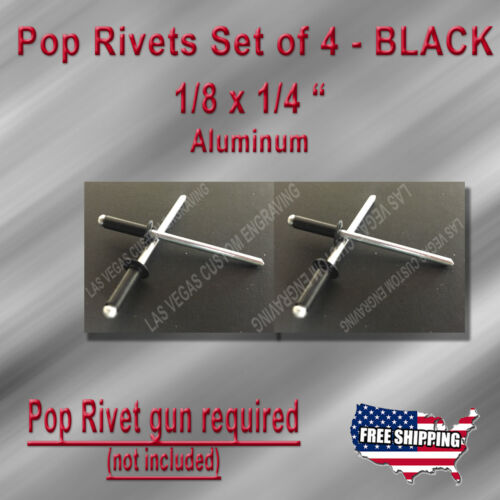 """Set of 4 1//8x1//4/"""" BLACK pop rivets for vin id serial number tag /& data plate"""