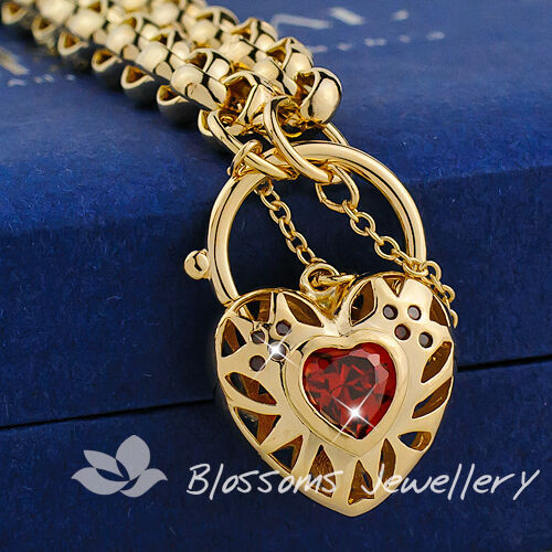 Solid 18K 18CT GOLD GF Lab Ruby HEART Padlock BRACELET Belcher Link CHAIN S25-1