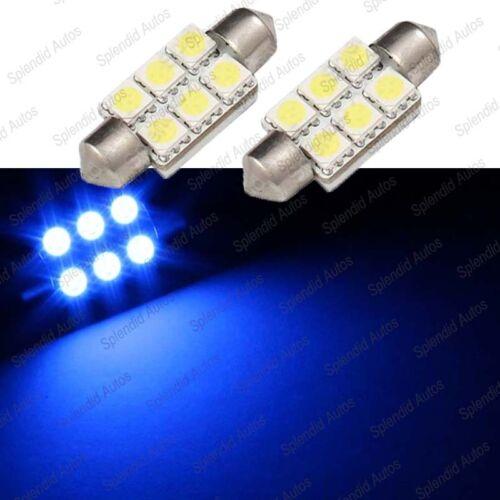 2 Pieces 41mm Ultra BLUE LED License Plate Light Bulbs 6-SMD Festoon 211-2 #14