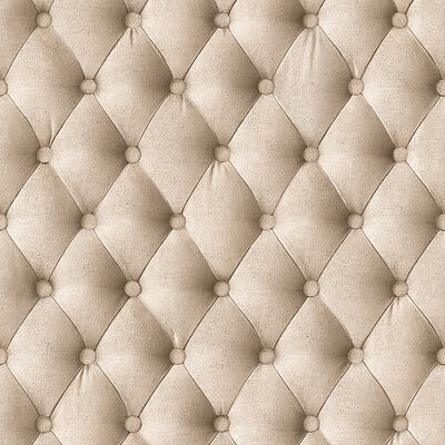'Chesterfield' Faux Materia effect textured wallpaper in Beige, Cool Headboard
