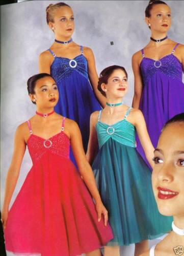 GLITTERED CHIFFON LYRICAL BALLET COSTUME RHINESTONE Royal blue ladies small