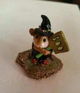 1996-Wee-Forest-Folk-Little-Boo-Boo-Black-Dress-Halloween-Witch-Retired