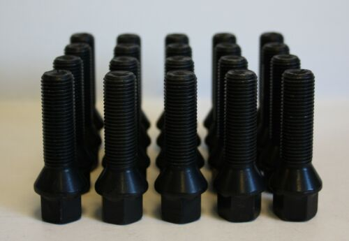 20 X M14 X 1.5 BLACK TAPERED 40MM WHEEL BOLTS FIT BMW E63 E64 M6 ONLY