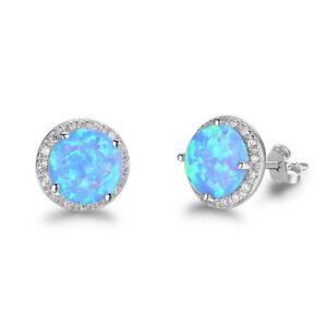 Sterling-Silber-Ohrstecker-Blau-Ozean-Opal-Stein-Ohrringe-Modeschmuck-U6K3