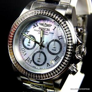 Invicta speedway 72 white diamonds platinum mop 40mm stainless steel watch new for Bulltoro watches
