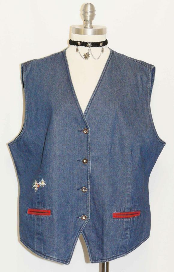 blueE DENIM Jean Walk Coat VEST Summer EDELWEISS FLOWERS Dress Vest B46