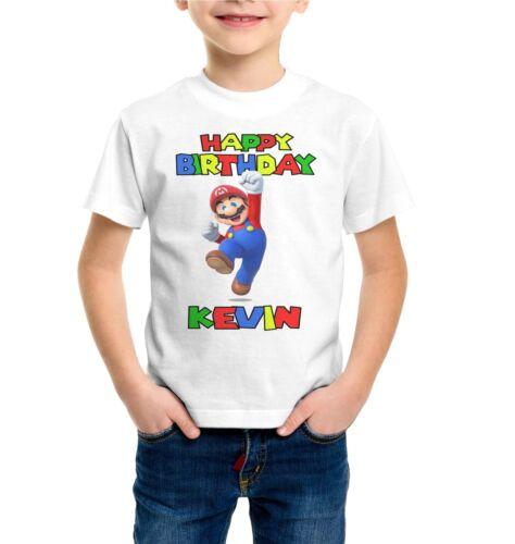 Kids Quality Game T-shirt Super Mario /& Sonic Birthday Personal Boys
