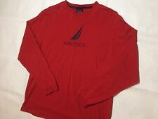 Vintage Nautica Long Sleeve Shirt Men's Large 90s Fashion Sailing Team Red