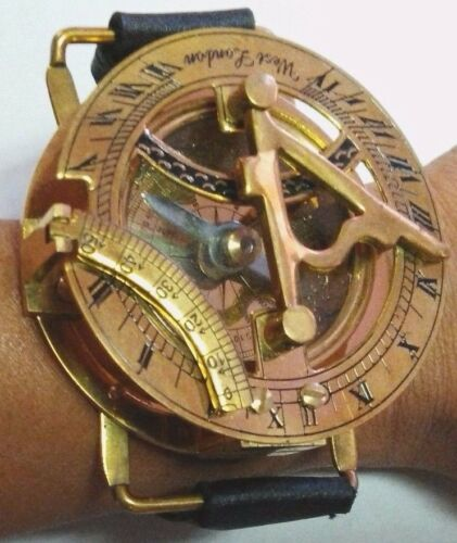 Best Gift Or Collection. Compass Solid Brass Wrist Watch Sundial Two In One