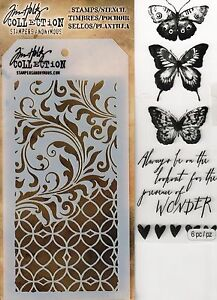 Tim-Holtz-Mixed-Media-Stencil-amp-Stamp-Pack-Butterflies-Flourishes-Filigree