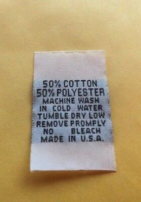 250 pcs WHITE WOVEN CLOTHING CARE LABEL SIZE TAG 50/% COTTON 50/% POLYESTER