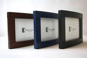 Fotorahmen-13x18cm-Bilderrahmen-Blau-Schwarz-Walnuss-Holz-Fotos-beidseitig