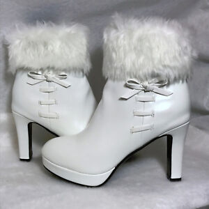 New White Leather Size 9.5M Zip Faux