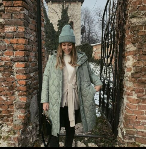 2969//296 ZARA WATER WIND PROTECTION OVERSIZED QUILTED COAT SEA GREEN