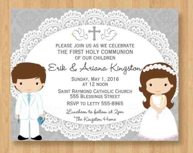 10 First Second Holy Communion Cross Twin Girl Boy Invitations Religious Cute