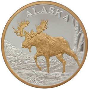 Alaska Mint Bull Moose Gold Silver Medallion Proof Coin Ebay