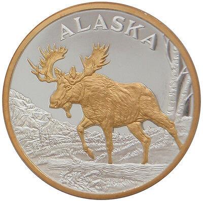 Alaska Mint Bull Moose Gold Silver Medallion Proof  Coin