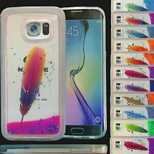 Image is loading Dynamic-Liquid-Feather-Glitter-Sand-Hard-Silicon-Case- eb45975d7
