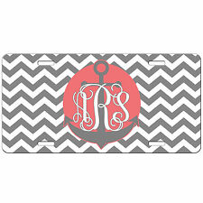 Grey Chevron Anchor Monogrammed PERSONALIZED License Plate Vanity Tag Car Auto