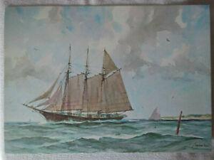 6-Marine-Water-Color-Prints-Gordon-Grant-State-Mutual-Life-Free-Priority-Ship