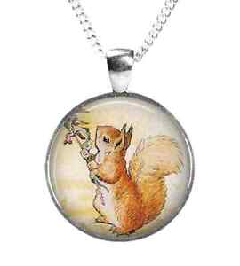 64cba46b882d Image is loading SQUIRREL-NUTKIN-Beatrix-Potter-Glass-Picture-Pendant-Chain-