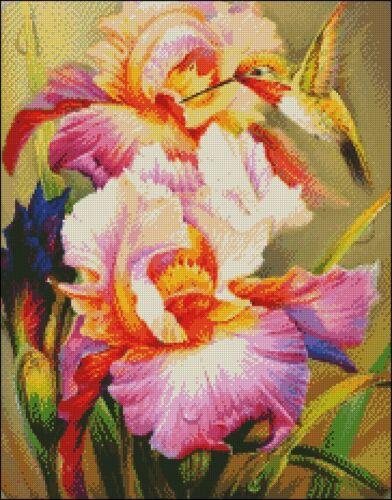 Counted Cross Stitch Kits Iris and Hummingbird 1 Chart Needlework Crafts DIY