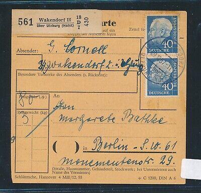 30632) Heuss Paketkarte Mef 40pf Ab Wakendorf Ii über Ulzburg (holst) Weich Und Rutschhemmend