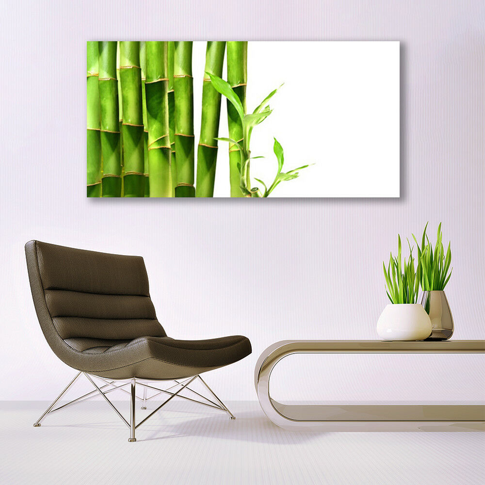 Glass Glass Glass print Wall art 140x70 Image Picture Bamboo Floral 7b9a47