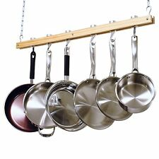 Ceiling Hanging Mount Mounted Wooden Pot Rack Dish Pans Drying Modern Style NEW