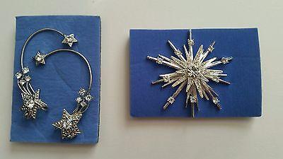 "VTG Avon STARBURST BROOCH 2.5"" PIN Silver Clear Crystal Rhinestones & Earrings"