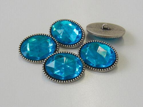 1697bl 3 funkelnde Schmuckknöpfe ausgefallene ovale Form in altsilber /& blau