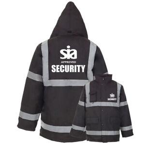 Printed-Black-SIA-SECURITY-Hi-Vis-Viz-Parka-Jacket-Reflective-Work-Coat-Staff