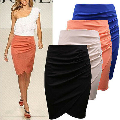 Hot Women Ladies Plain Office High Waist Stretch Bodycon Pencil Skirt Mini Dress