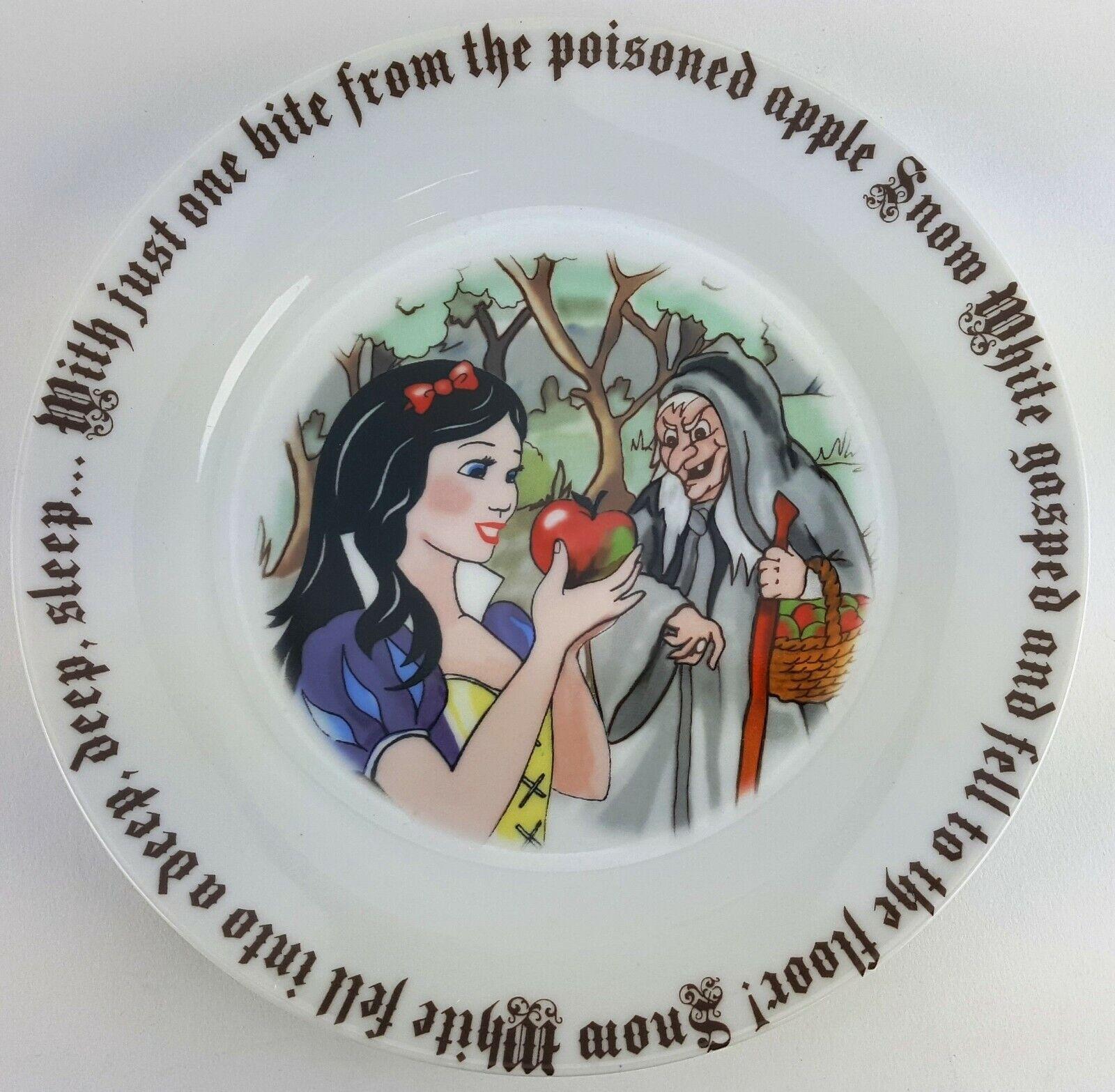 """Paul Cardew SET OF 4 SNOW WHITE 8/"""" Porcelain Plates Fairytale 7 Dwarves Queen"""