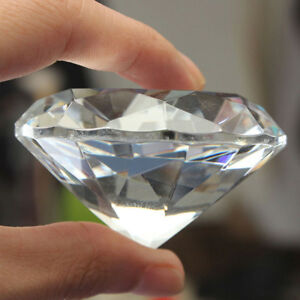 ITS-1pc-Crystal-Clear-Paperweight-Faceted-Cut-Glass-Giant-Diamond-Jewelry-Decor