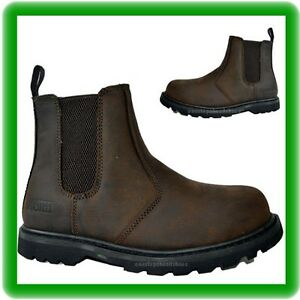 Boots Brown Dealer en Taille Chelsea Slip Safety acier 9 43 Mens On Embout qYBwxHH1d
